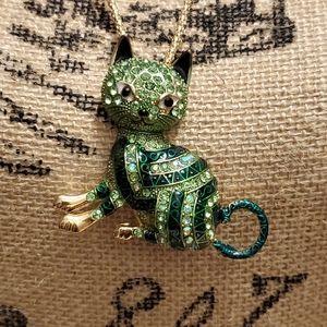 New Betsy Johnson jeweled Green cat necklace